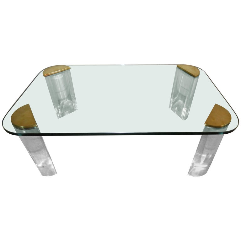 Chunky Lucite Brass Coffee Table Midcentury