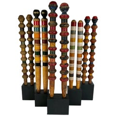 Collection of Antique and Vintage Colorful Croquet Posts in Custom Block Stands