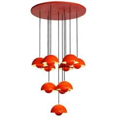 Verner Panton Light Fixture/Chandelier Made Up Ten Red Orange Flowerpot Lamps