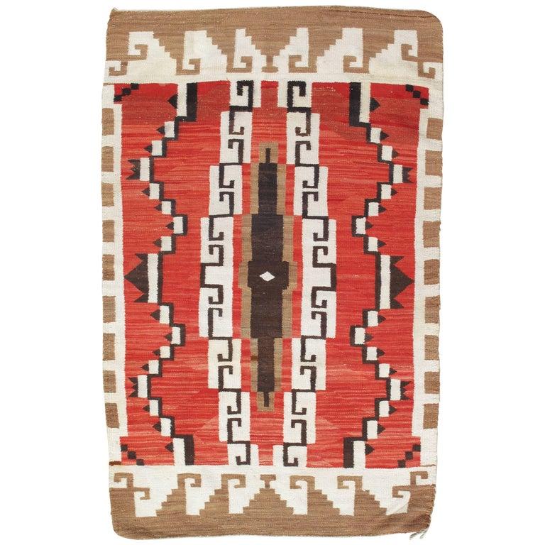 Vintage Navajo Carpet, Folk Rug, Handmade Wool Rug, Tan, Coral, Beige