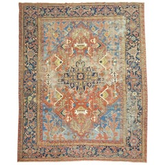 Colorful Shabby Chic Persian Heriz Rug