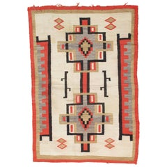 Antique Navajo Carpet, Folk Rug, Handmade Wool, Beige, Coral, Tan, Black