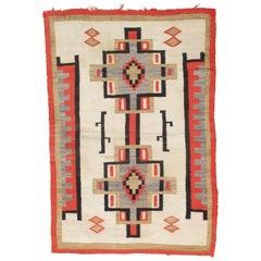Antique Navajo Carpet, Folk Rug, Handmade Wool, Beige, Coral, Tan, Black