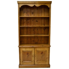 Vintage Pine Bookcase with Two Doors