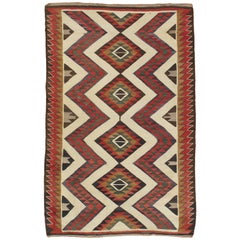 Antique Navajo Carpet, Folk Rug, Handmade Wool, Beige, Yellow, Green, Rust