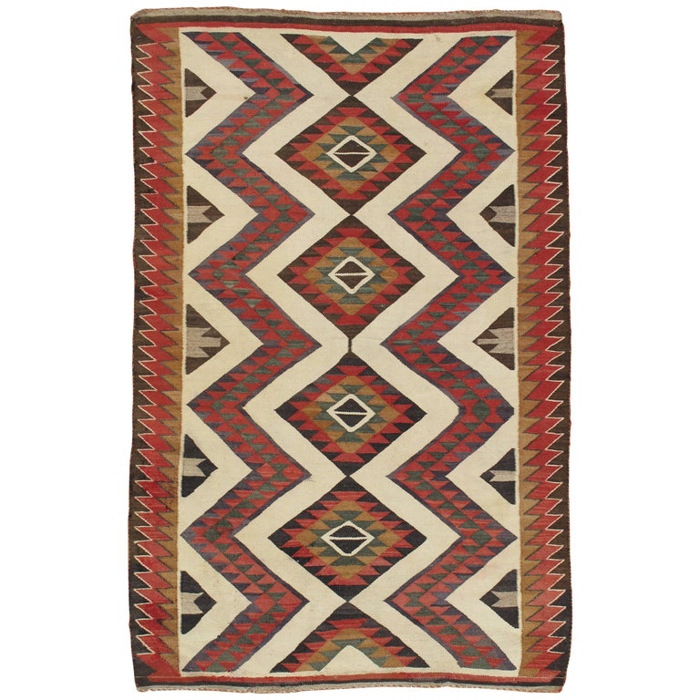 Antique Navajo Carpet Folk Rug Handmade Wool Beige Yellow Green