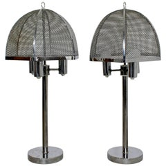 Vintage Mid-Century Modern Pair of Laurel Style Wire Mesh Table Lamps