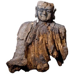 Ming Dynasty Very Rare Wooden Bust of Lohan