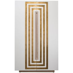 CELESTE BAR CABINET - Modern White Lacquer Oak Body Cabinet with Gold Leaf Inlay