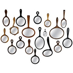 Collection of 18 Antique Wooden Handle Bevelled Glass Hand Mirrors