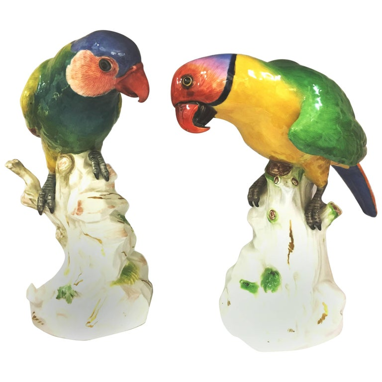 Pair of 19th Century Meissen Parrots For Sale