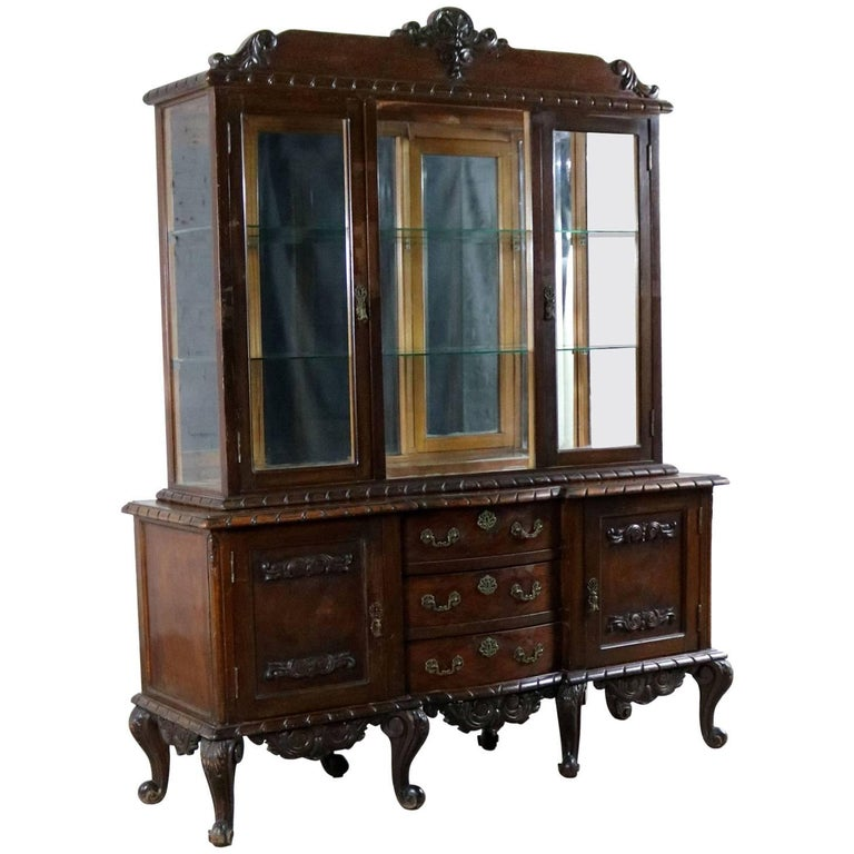 Louis XV Style Two-Piece Vitrine or China Cabinet