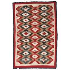 Vintage Navajo Carpet, Folk Rug, Handmade Wool, Beige, Red, Tan