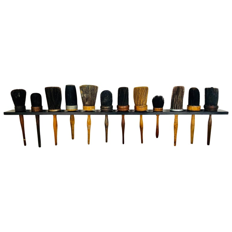 Collection of 12 Antique Shaker Style Turned Wood Handle Horse Hair Brushes