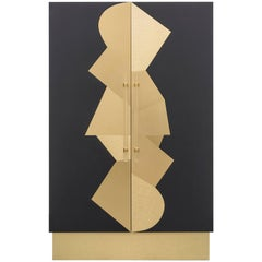 COCO CABINET - Modern Ebony Oak Cabinet with Brass Inlays and Acrylic Handles