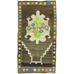 Vintage Turkish Kars Rug with Colorful Cotton Highlights