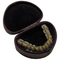 Early Full Set of Porcelain Tube Teeth in Case, 1840-1860