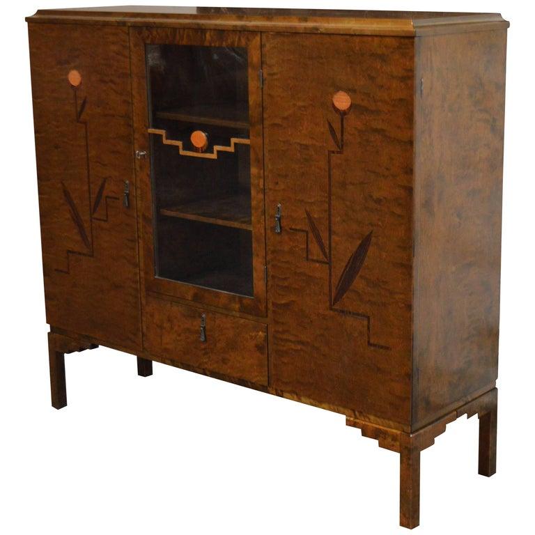 Swedish Inlaid Art Deco Bookcase Storage Cabinet For Sale