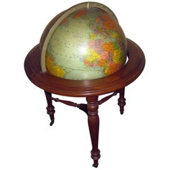 20th Century World Globe on Wooden Tripod Pedestal
