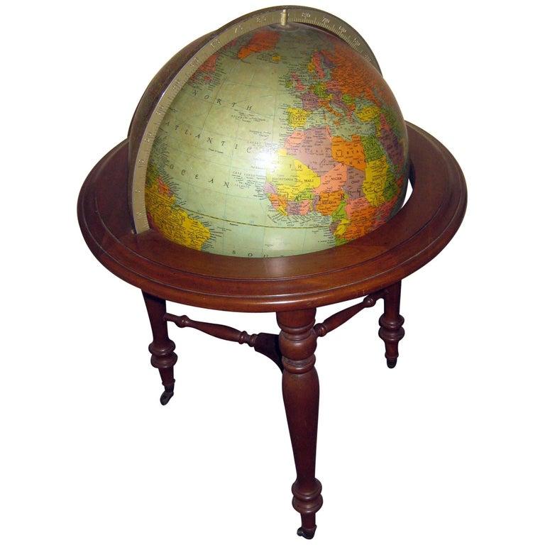 20th Century World Globe on Wooden Tripod Pedestal