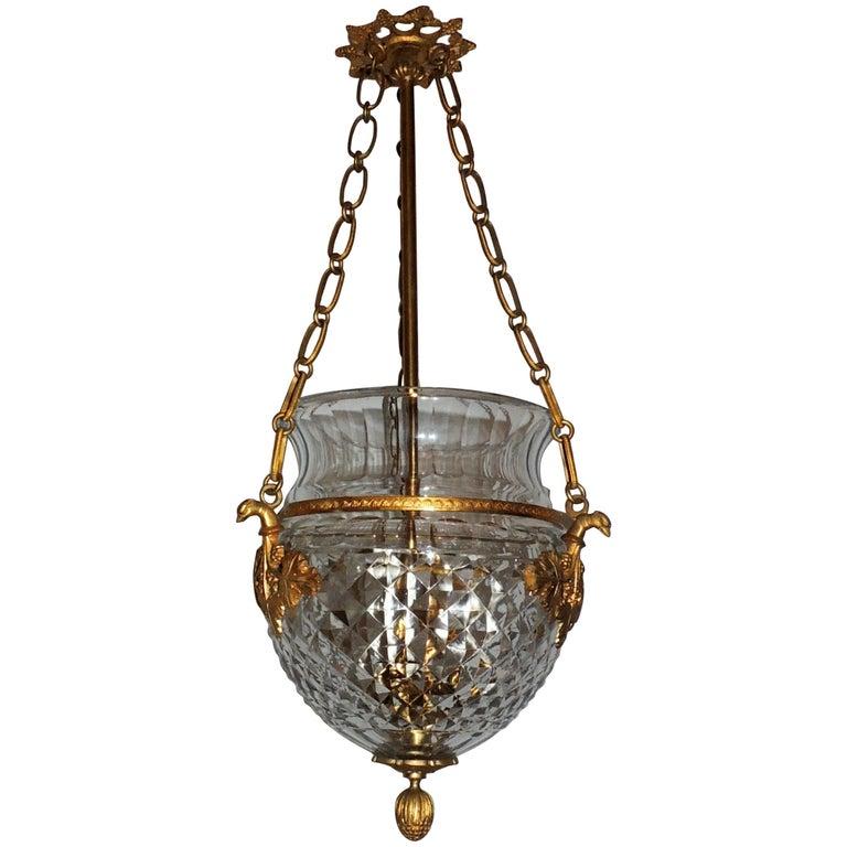 Wonderful French Bronze Crystal Neoclassical Empire Ormolu Lantern Chandelier
