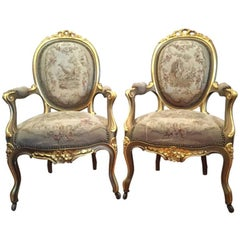 Louis XV Style Giltwood Tapestry Upholstered Fauteuils