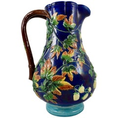 19th Century Royal Worcester English Majolica Glazed Hops and Leaves Pitcher