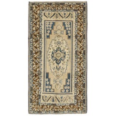 Blue and Brown Oushak Vintage Rug from Turkey with Geometric Layered Medallion