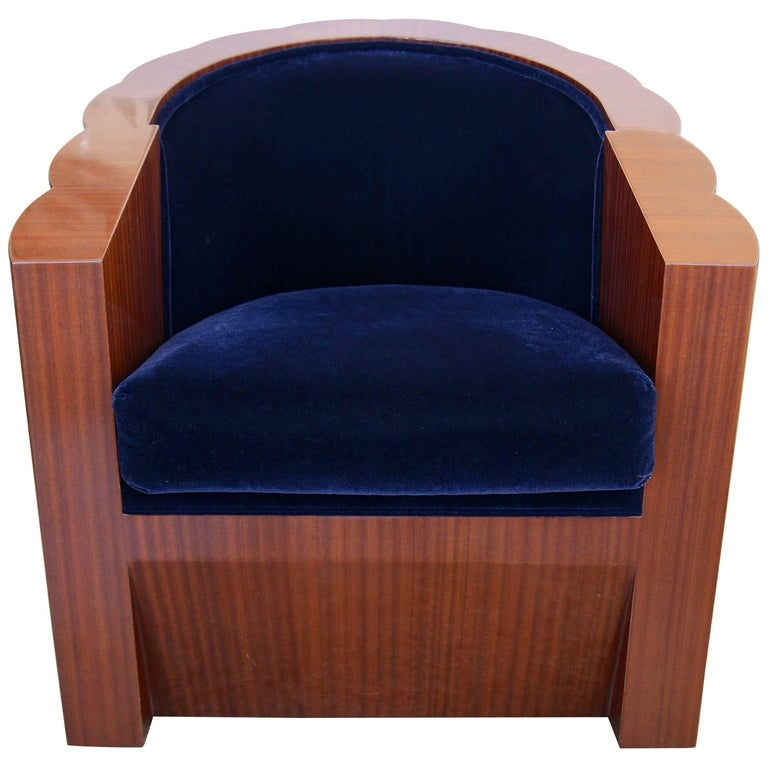 Art Deco Style Club Chair in Mahogany Wood and Blue Mohair Upholstery