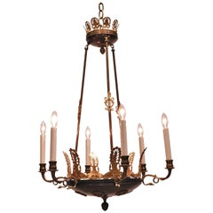Six-Light Bronze Empire Style Chandelier, circa 1920, Denmark