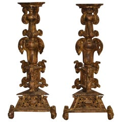 Pair of Monumental Early 19th Century Gold Giltwood and Gesso Pedestals