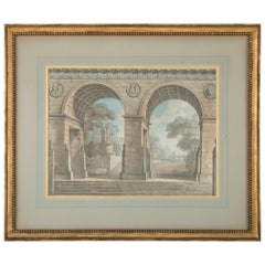 French Neoclassical Architectural Watercolor