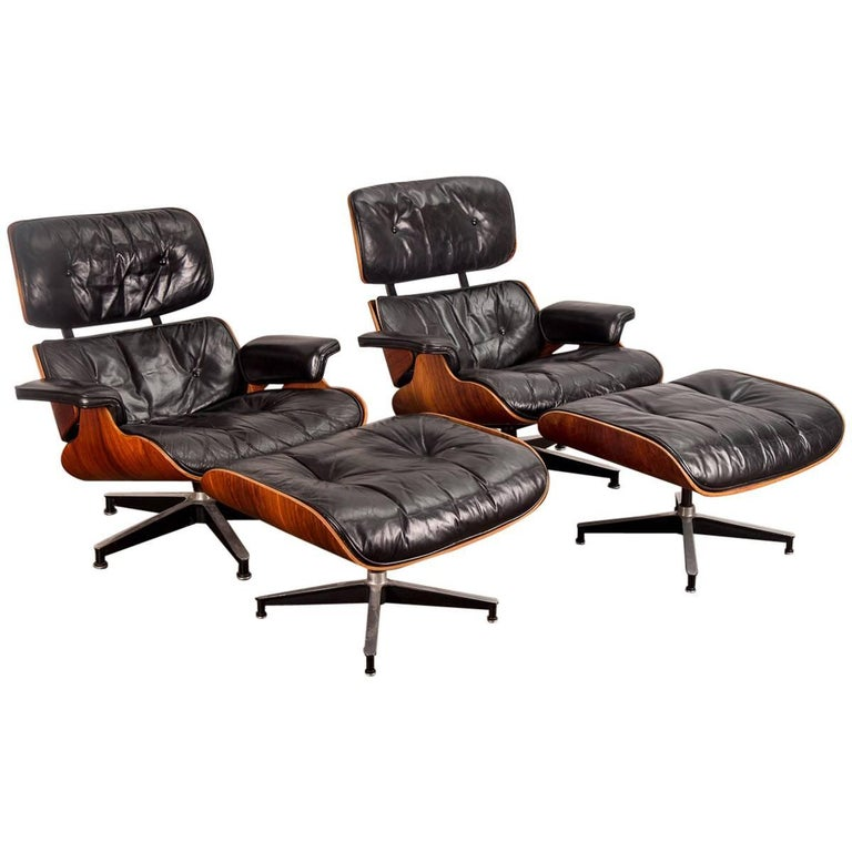 Pair of 1960s Eames 670 Lounge Chairs and 671 Ottomans