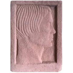 Ruth Cravath Carved Sand Stone Sculpture, Portrait, 1930s, Bay Area Artist