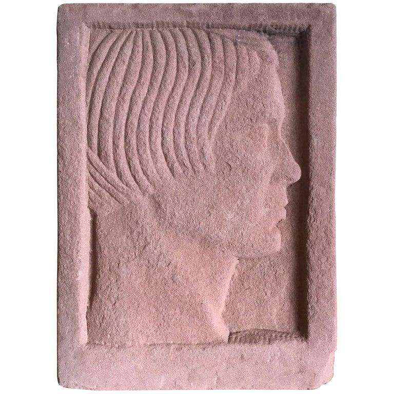 Ruth Cravath Carved Sand Stone Sculpture, Portrait, 1930s, Bay Area Artist 1
