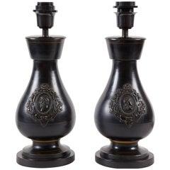 Pair of 19th Century Dark Ceramic Lamps