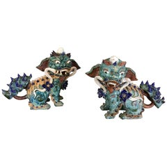 Pair of Chinese Pottery/Ceramic Foo Dogs