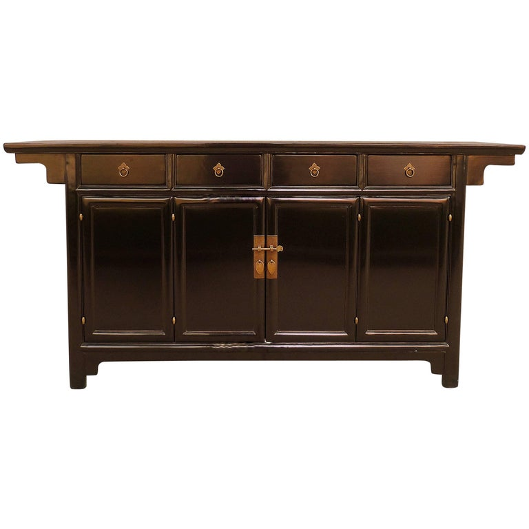 Refined Black Lacquer Sideboard
