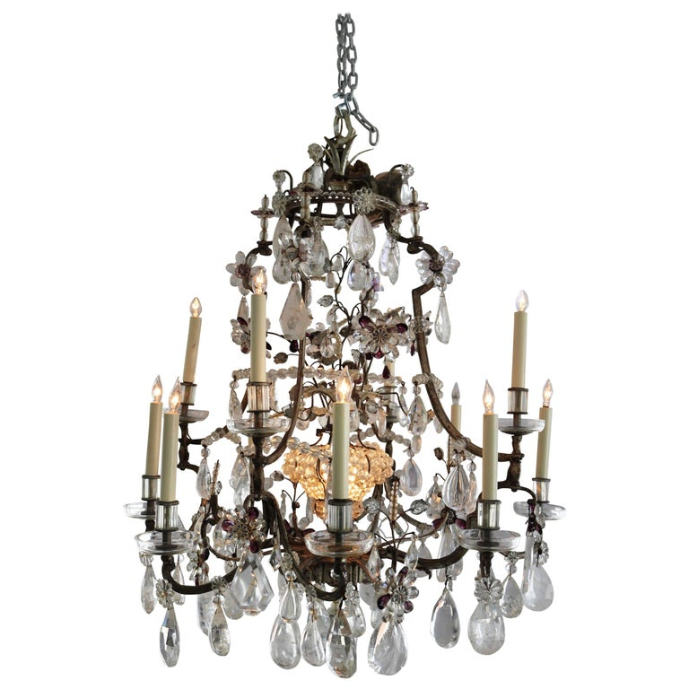 Louis XV Style Rock Crystal Chandelier For Sale