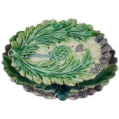 Luneville Art Nouveau French Majolica Asparagus Footed Drainer and under Tray