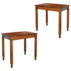 Pair of Swedish Modern Classicism Side Tables with Articulated Legs in Birch