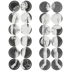 Fornasetti Adam and Eve, Adamo and Eva, 24 Porcelain Plates. Mint Condition.