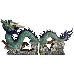 Chinese Two Pair Ceramic Dragon