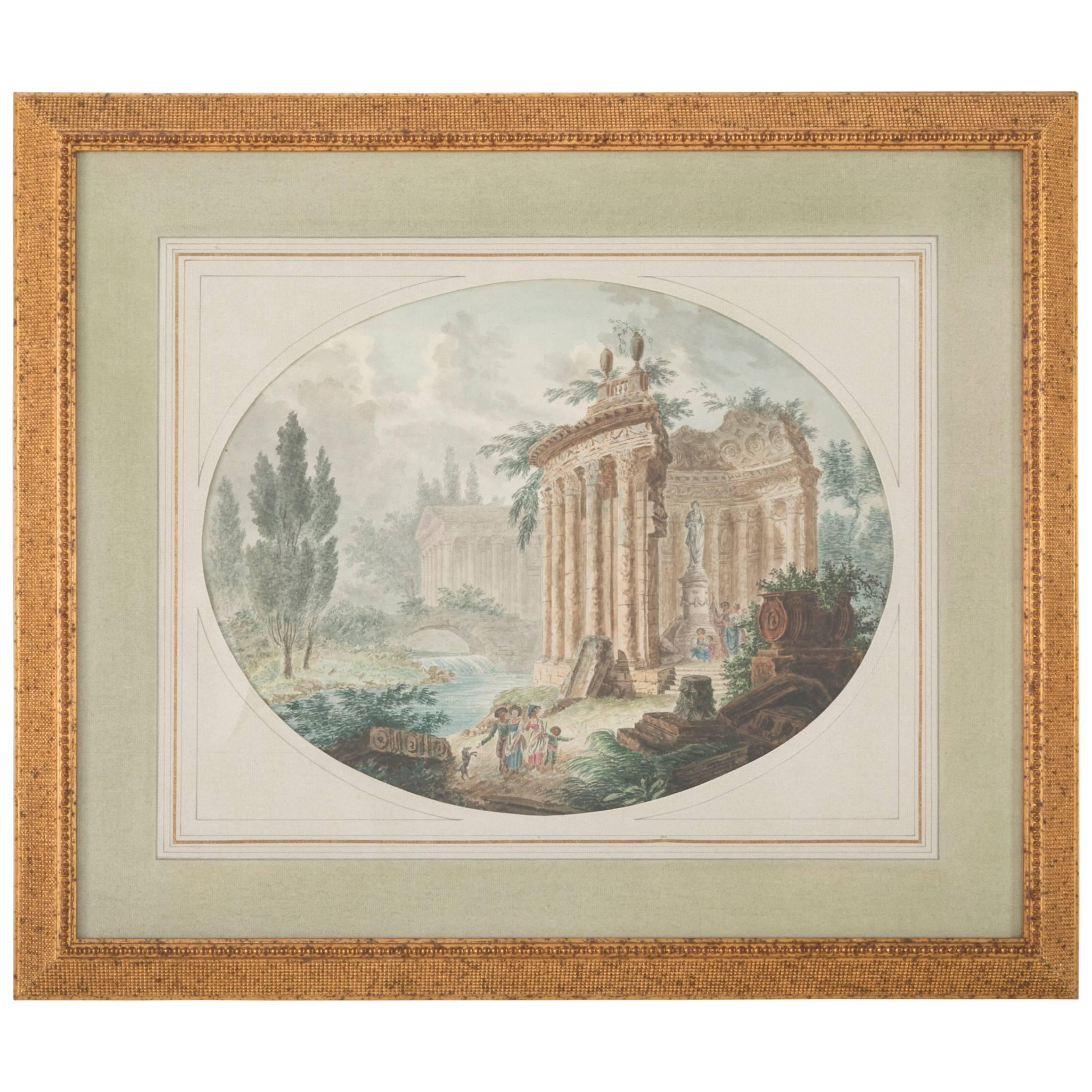 Italian Neoclassical Watercolor With Roman Ruins
