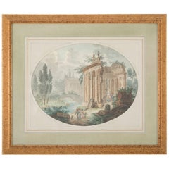 Italian Neoclassical Watercolor With Roman Ruins