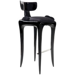 Cetus, Limited Edition Custom-Colored Polished Oak Barstool or Stool