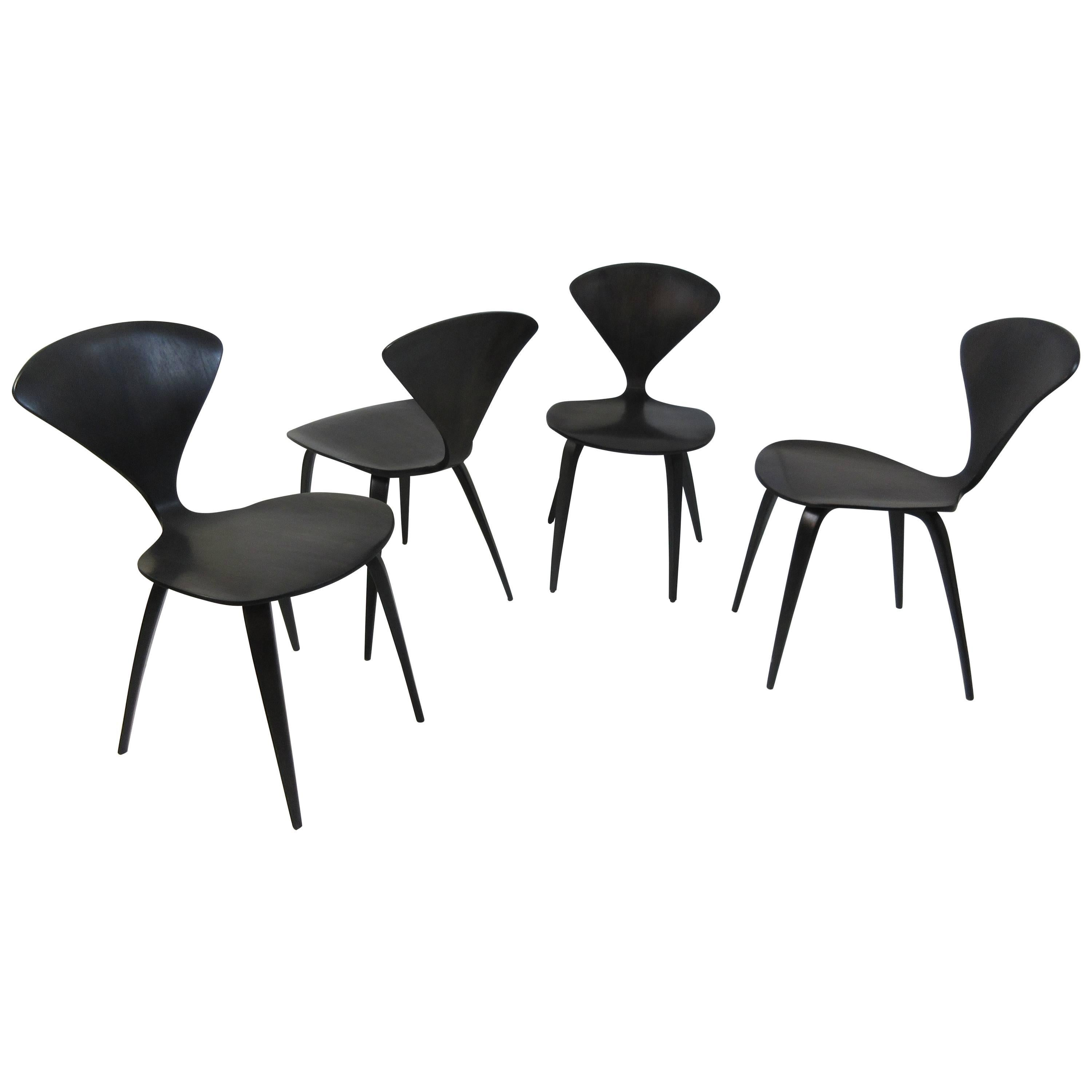 norman cherner walnut side chairs set of four