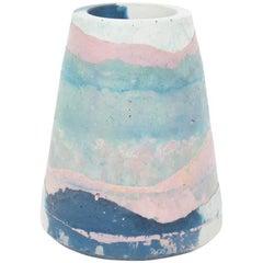 Vesta Concrete Vase in Detritus Pattern, Handmade Organic Modern Vessel in Stock