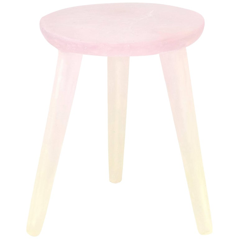 Glow Side Table or Stool in Pink to Yellow, Handmade from Recycled Resin