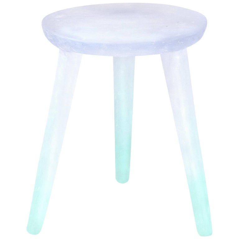 Glow Side Table or Stool in Periwinkle to Aqua, Handmade from Recycled Resin